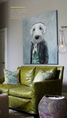 Interiordesign mit Hund: painting. The painter took the dogs personality and made the body as if he was a person. Awesome!