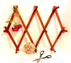 Vintage Natural Wood Peg Rack Expandable by happenstanceNwhimsy, $15.00
