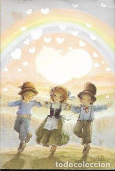 Painting & Drawing, Watercolor Paintings, Eye Sketch, We Are The World, Big Eyes, Vintage Cards, Vintage Children, Rainbow Colors, Illustrators