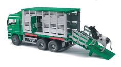 Load em up cowboy. Bruder cattle truck with cow is a full working model. Made in Germany built to last. Full range of farm equipment in the range. Toy Trucks, Fire Trucks, Monster Trucks, Sand Play, Play Vehicles, Engine Block, Garbage Truck, Rottweiler Dog, Minecraft Party