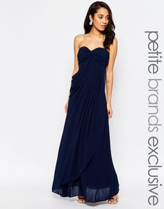 Jarlo Petite Claudia Ruched Bandeau Maxi Dress (Amy?)