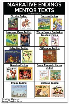 Narrative Endings FREE! Writing Narrative Endings Printable Mentor Text Ideas- Young Teacher Love by Kristine NanniniFREE! Writing Narrative Endings Printable Mentor Text Ideas- Young Teacher Love by Kristine Nannini Teaching Narrative Writing, Writing Mentor Texts, Personal Narrative Writing, Writing Lessons, Writing Workshop, Writing Activities, Personal Narratives, Writing Ideas, Writing Traits