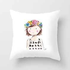 Flowers in her hair Throw Pillow by Sophie & Lili