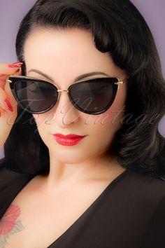 b7d10d89d5 50s Dita Cat Eye Sunglasses in Black and Gold