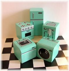 Miniature Appliance Set with kitchen floor. Set up a mini kitchen with this set of vintage blue appliances – this package includes: Refrigerator, Stove, Sink, Washer, Dryer and Checkered Floor (7″X7″)