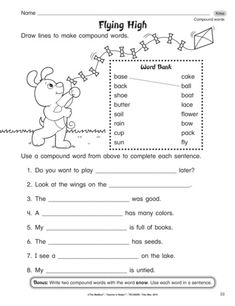 Do your kiddos need a quick review of compound words? This language arts worksheet assesses both forming compound words and using them in context. Language Arts Worksheets, Consonant Blends, Jolly Phonics, Compound Words, Word Sorts, Rhyming Words, High School English, English Language Arts, Letter Sounds