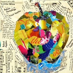 Torn paper collage ....use a variety of words of the object in the middle in different mediums and fonts.....eg: here write Apple's or fruit as the background