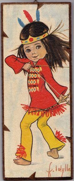 Vintage Bild  Indianermädchen 60er /70erJahre