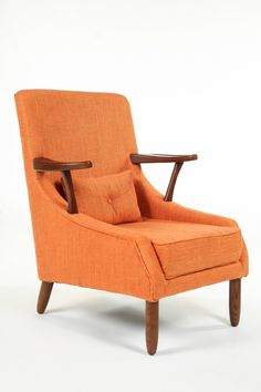 The Vejle Arm Chair is just the right eye-catching piece for your modern living room or bedroom. Taking a page out of the smart, long-lasting design. Accent Furniture, Home Furniture, Modern Furniture, Furniture Ideas, Orange Accent Chair, Accent Chairs, Vejle, Farmhouse Dining Chairs, Wood Arm Chair