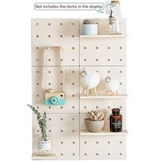 ECO-FRIENDLY : The pegboard and all the accessories are both well made from high quality Plastic, perfect for displaying decor in your home or office. SIMPLE AND FUNCTIONAL: This pegboard comes with moveable shelves and pegs accessories, which can easily be arranged according to your needs, enable you to keep all your important to-dos, memos, stationery and small items organised in one... Large Shelves, Wall Mounted Shelves, Wooden Shelves, Floating Shelves, Shelf System, Filing System, Bathroom Kids, Wall Storage, Home Kitchens