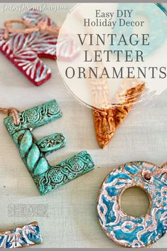 DIY letter ornaments for Christmas decorations have never been easier to make with air dry clay IOD moulds and IOD stamps. Learn how to make these easy vintage holiday ornaments for your own Christmas tree or to give as handmade gifts this holiday season. Diy Christmas Decorations For Home, Christmas Ornaments To Make, Holiday Crafts, Christmas Diy, Christmas Desserts, Handmade Birthday Gifts, Handmade Gifts, Handmade Ornaments, Letter Ornaments