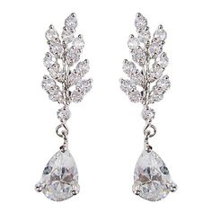 Gorgeous White Platinum Plated With  Drops Shape Cubic Zirconia Earrings – USD $ 24.49