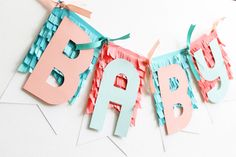 Baby Banner by Laura Silva for We R Memory Keepers Create A Flag, Create And Craft, Cute Banners, Baby Banners, Diy Crafts Hacks, Diy And Crafts, Decorative Paper Crafts, Pink Party Decorations, Personalized Banners