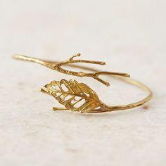 Gold Lace Leaf Brass Cuff | Gold Bracelet | Rustic Jewelry | Boho Jewelry