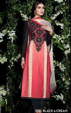 Picture of Beautiful Black and Red Ethnic Salwar Kameez