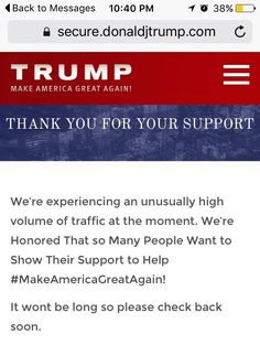 (8/31/16) Donald Trump's website crashes in an epic way tonight!