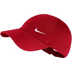 Nike Heritage Performance Cap featuring polyvore, women's fashion, accessories, hats, dark pink, strap hats, bills hats, nike, nike hat and cap hats