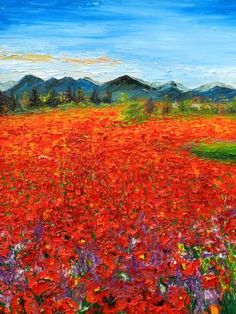 Exhibit, Poppies, Artworks, Landscape, Painting, Art Pieces, Painting Art, Paintings, Corner Landscaping