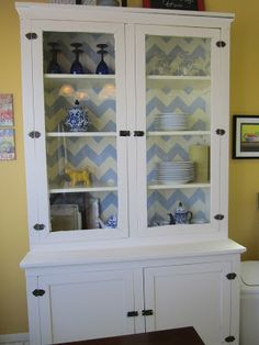 Restoration Beauty: China Cabinet gets a dose of Chevron Stripes- Love this!