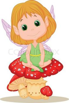 Vector of 'Vector illustration of Cute cartoon fairy sitting on mushroom' on…
