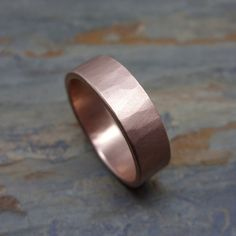 6mm Rustic Hammered Gold Ring  Wide Wedding Band in by brightsmith