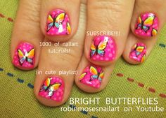 Nail-art by Robin Moses PINK FLUTTERBIES http://www.youtube.com/watch?v=XpP235zfzqw