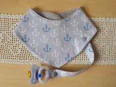 """Halstücher - Halstuch mit Schnullerband, """"Anker"""" grau-weiß - ein Designerstück von Lisa-Toews bei DaWanda"""