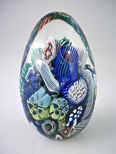 Ocean Reef Paperweight Egg by Michael Egan: Art Glass Paperweight available at www.artfulhome.com