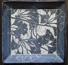 richard roth   sgraffito gingko plate pottery ceramics clay