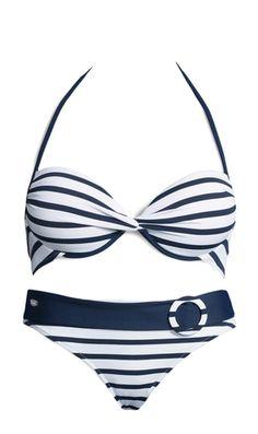 VENICE BEACH Bandeau bikini - Junger Sportswear-Look im angesagtenStreifen-Dessin. Bandeau-Bikini mit herausnehmbaren Cups für ein tolles Dekolleté. Seitliche Stäbchen sorgen für einen besseren Halt. Top im Nacken zu binden und im Rücken zu schließen. Bikini-Hose in trendiger Gürtel-Optik mit modischem Zierring. Bikini gefüttert. Aus 94% Polyamid, 6% Elasthan. Futter: 100% Polyamid