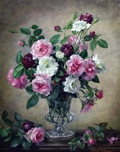 Albert Williams - Pink and white roses