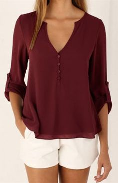 V-Neck Button Design Long Sleeve Blouse For Women