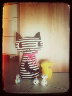 Handmade stop door striped cat <3