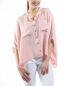 Look at this #zulilyfind! Salmon Cape-Sleeve Button-Up #zulilyfinds