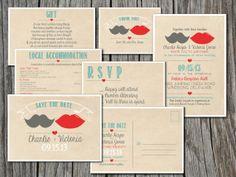 Wedding Invitation Suite Set - Printable, Custom, DIY - RUSTIC, KRAFT Paper, Mustache, Lips (Wedding Design #8)