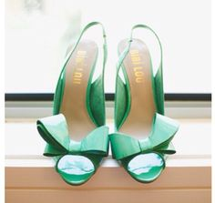 Green shoes with a bow