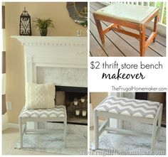 Easy DIY Thrift Store Bench Makeover by @Christina {The Frugal Homemaker} featuring a Value Village thrift find and Gray and White Chevron Print.
