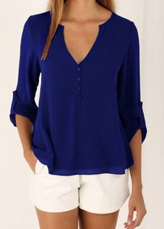 Blue Three Quarter Sleeve V Neck Blouse on sale only US$18.39 now, buy cheap…