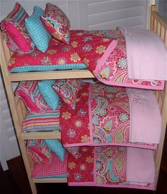 Pretty TRIPLE Doll Bunk Bed Separates with by Dollbeddingboutique