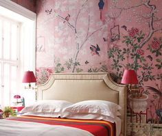 Luscious bedroom - pink Chinoiserie-style wallpaper [ Barndoorhardware.com ] #Asian #hardware #slidingdoor
