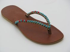 Leather Beaded  Flip Flop for Women SALE Beaded Sandals  - Thong Sandals - Boho Sandals - Handmade Flip Flop - Greek Flip Flop