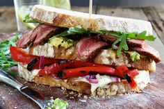 Steak, Avo And Roasted Pepper Stacked Sandwich - Make delicious beef recipes easy, for any occasion Sirloin Steaks, Roasted Peppers, Sourdough Bread, Arugula, Food Styling, Beef Recipes, Sandwiches, Easy Meals, Stuffed Peppers