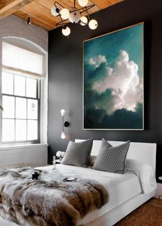Extra Large Wall Art, Cloud Painting, Abstract Art, Large Abstract Painting, Aqua Green Grey White Cloudscape Art by CORINNE MELANIE ART #abstractart #artpainting
