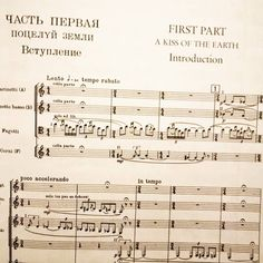 """The iconic intro to the ballet """"The Rite of Spring"""" which had its notorious premiere 106 years ago.  An appropriately timely work of addled violence and lust. Also a beautiful example of the art of music manuscripts  #riteofspring #stravinsky #score #manuscript #ballet #classicalmusic #sheetmusic #bassoon by mattloganphotography"""