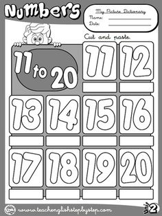 Numbers to - Picture Dictionary (B&W version) English Worksheets For Kids, English Lessons For Kids, Name Activities, Grammar Activities, English Teaching Resources, English Activities, Numbers For Kids, Numbers Preschool, Color Flashcards