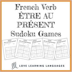 French verb être present tense sudoku games - Le verbe être au temps présent Use these sudoku games to practice the French verb être in the present tense . 5 versions are included. Students place a verb in each empty box so that each row, column and six box square contains each of the verbs. Related Products ⭐ French Verb ÊTRE Bundle - ÊTRE expressions