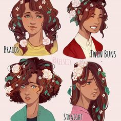 WHICH IS YOUR FAV FOR FLOWER GIRL?! (You can add why its your fav but you dont have to) i love doing these hairstyle things way too much, i sometimed end up liking another hairstyle for my oc to be honest  i also wanted to do a male oc next but wasn't that inspired.  #pandastrophic_oc #digitalart #كلنا_رسامين #relseiy_ocs