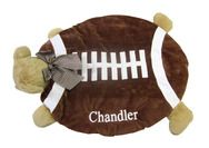 """Bearington Bear -Football Bear Belly Blanket  is a #personalized plush toy that is always in season for the future """"baby sports star. $35 at www.namelynewborns.com"""