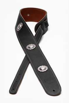2.5 4 Concho Boot Leather Guitar Strap by LoreLeatherProducts