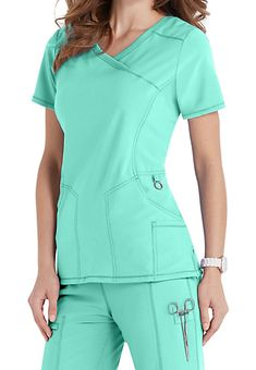 Mock Wrap Top with Certainty Dental Scrubs, Medical Scrubs, Scrub Suit Design, Doctor Scrubs, Stylish Scrubs, Cute Scrubs, Iranian Women Fashion, Medical Uniforms, Womens Scrubs